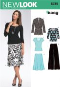 6735 New Look Pattern: Misses' Knit Cardigan, Tops, Trousers and Skirt